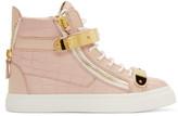 Giuseppe Zanotti SSENSE Exclusive Pink Croc-Embossed Leather Ringo Sneakers