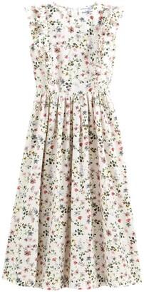 Balzac Paris X La Redoute Collections Ruffled Sleeveless Midi Tea Dress in Floral Print