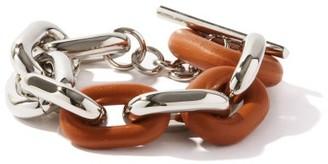 Paco Rabanne Xl Link Metal And Leather Bracelet - Orange