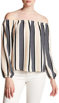 Lucca Couture Stripe Off-the-Shoulder Shirt
