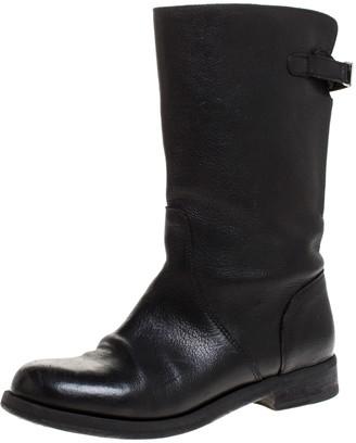 Dolce & Gabbana Black Leather Mid Calf Boots Size 37.5