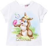 MonnaLisa White Easter Bunny and Butterfly Print Tee