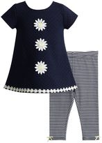 Youngland Toddler Girl Flower Applique Woven Mini Dress & Striped Leggings Set