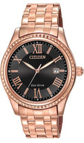Citizen 40mm Rose Golden Bracelet Watch, Black