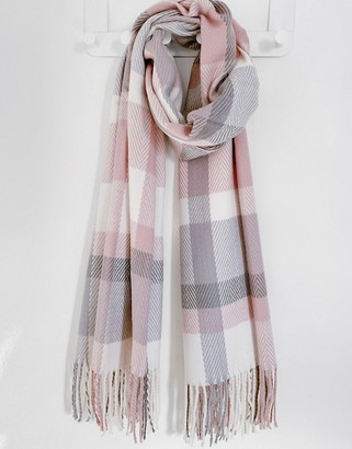 Accessorize Poppy tassel blanket scarf in pastel check