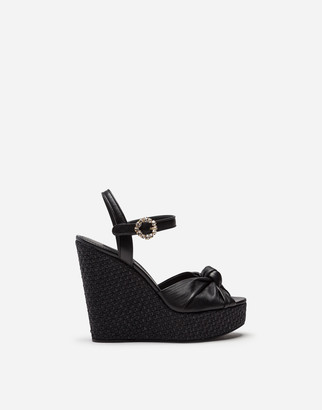 Dolce & Gabbana Wedge Nappa Leather Sandal With Bejewelled Buckle