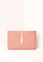 Missguided Pink Metallic Strap Clutch Bag