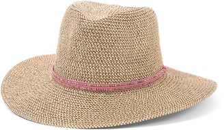 Ale By Alessandra Women's Kenzie Toyo Straw Fedora Sunhat Packable & Adjustable