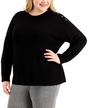 Calvin Klein Size Lace-Up-Trim Sweater