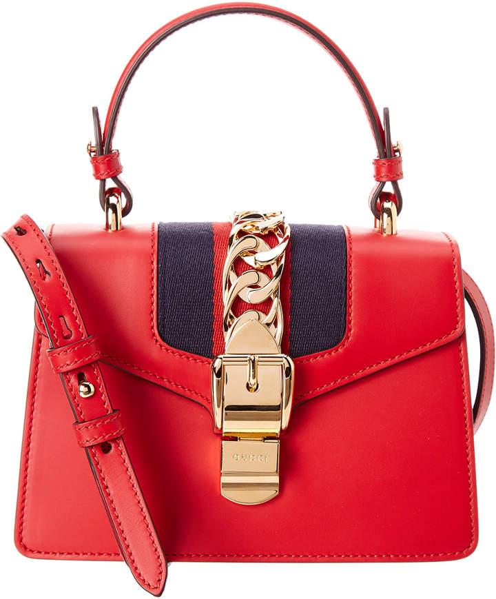 Gucci Sylvie Mini Leather Top Handle Shoulder Bag