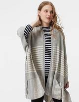 Joules Womens Patti Knitted Cardigan with Poncho Style in Grey Stripe