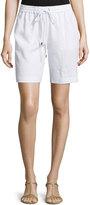 MICHAEL Michael Kors Linen Drawstring Track Shorts, White