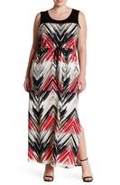 Loveappella Chevron Maxi Dress (Plus Size)