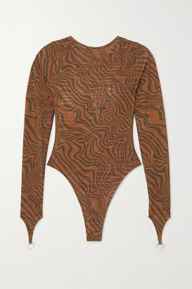 Maisie Wilen - Open-back Printed Stretch-jersey Bodysuit - Brown
