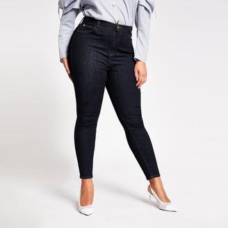 River Island Womens Plus dark Blue Hailey high rise skinny jeans