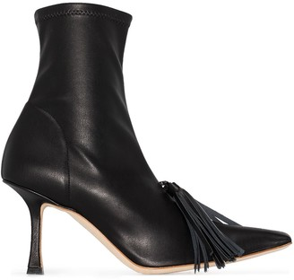 A.W.A.K.E. Mode Agnes 80mm tassel ankle boots