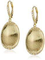 Jardin Brushed Gold-Tone Drop Earrings, 3 cttw