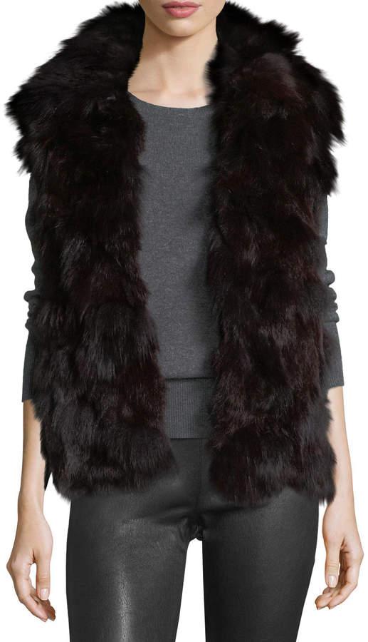 Adrienne Landau Fur Open-Front Vest