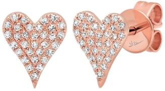 Ron Hami 14K Rose Gold Diamond Heart Stud Earrings - 0.14 ctw