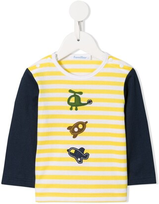 Familiar long-sleeved striped T-shirt