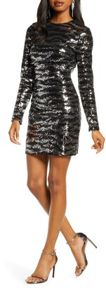 French Connection Ebba Sequin Tiger Stripe Long Sleeve Sheath Dress