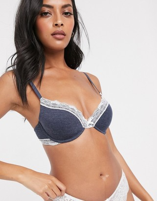 Dorina Gina modal and lace t-shirt bra in grey