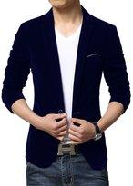 Liveinu Men's Slim Fit 1 Button Velvet Blazer Tuxedo Dinner Jacket Black 56