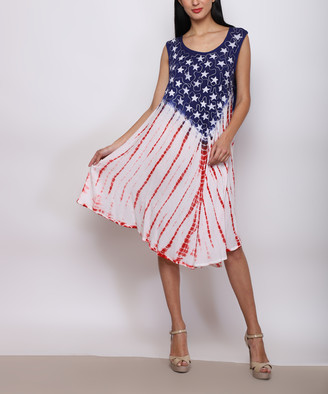 Americana Jessica Taylor Women's Casual Dresses RED/WHT/BLUE - Blue & White Tie-Dye Stripe Embroidered Shift Dress - Women