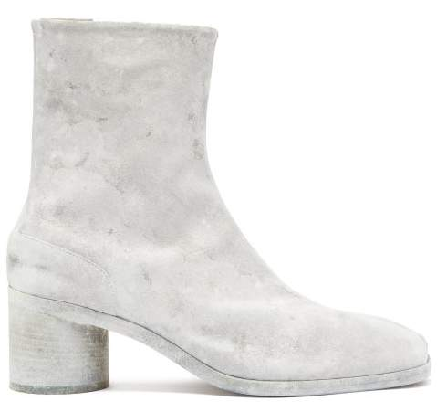 Maison Margiela Tabi Split Toe Painted Leather Boots - Mens - White