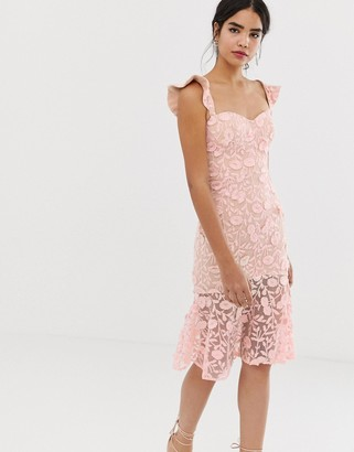 Jarlo all over lace embroidered midi dress with frilly off shoulder detail in pink
