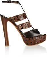 Alaia Laser-cut leather platform sandals