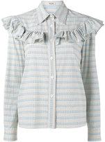 Miu Miu ruffle-trimmed cropped shirt - women - Cotton - 38