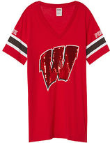 PINK University Of Wisconsin Bling Fitted V-neck Tee