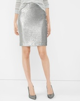 White House Black Market Silver Sequin Pencil Skirt
