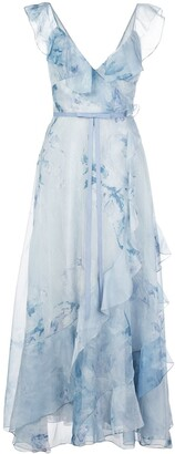 Marchesa Printed Ruffled Long Dress