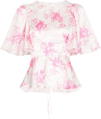 Les Rêveries Frill Sleeve Floral Print Silk Blouse