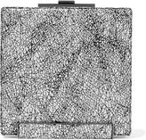 Halston Metallic printed brushed-suede clutch