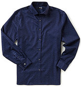 Murano Slim-Fit Spread Collar Jacquard Cloud Long-Sleeve Sportshirt