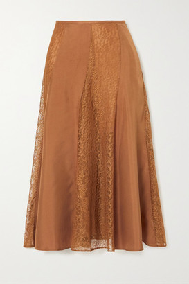 By Malene Birger Stelma Satin And Lace Midi Skirt - Copper