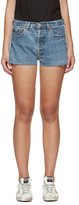 RE/DONE Blue Two-Tone Denim Shorts