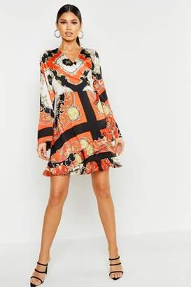 boohoo Scarf Print Wrap Dress