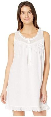 Eileen West Cotton Swiss Dot Woven Sleeveless Short Chemise (White) Women's Pajama