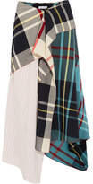 J.W.Anderson Asymmetric Patchwork Silk-crepe And Tartan Midi Skirt - White