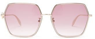 Alexander McQueen Hexagonal Metal Sunglasses - Womens - Purple Gold