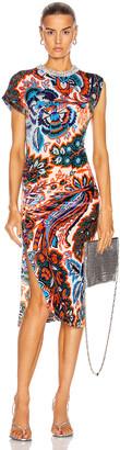 Paco Rabanne Ruched Velvet Floral Dress in Orange & Blue Flower | FWRD