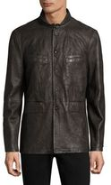 John Varvatos Zipper Closure Leather Jacket