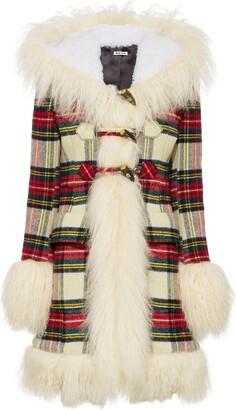 Miu Miu Check-Pattern Single-Breasted Coat