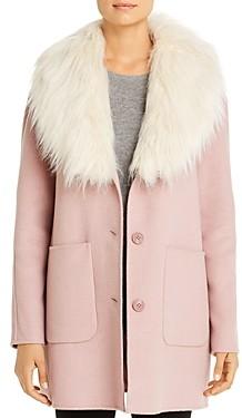 Laundry by Shelli Segal Hooded Faux Fur Trim Coat