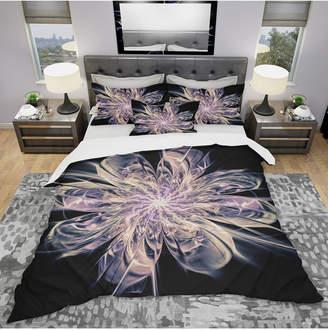 Designart 'Blue Fractal Flower Petals' Modern and Contemporary Duvet Cover Set - Queen Bedding