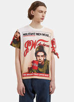 J.w. Anderson Militant Men Print Knot T-shirt In White, Beige And Red